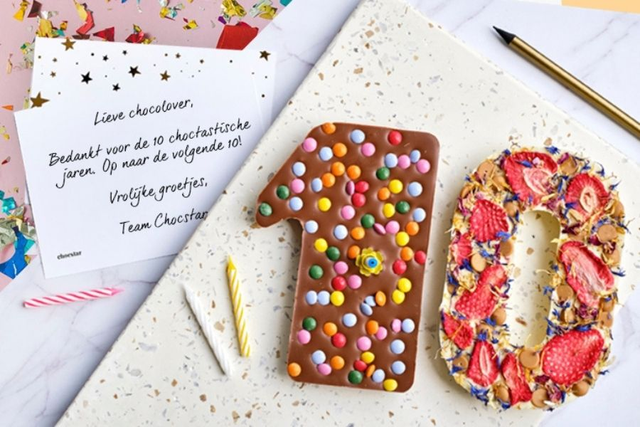 Chocolade cijfers personaliseren jubileum cijfers