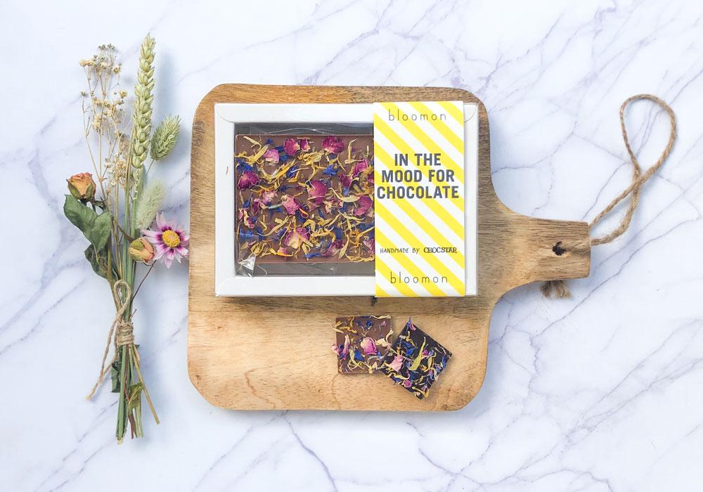 Een chocoladereep met bloemen die we hebben mogen maken voor Bloomon